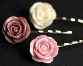 Rose Bobby Pins. Rose Hair Pins in Dusky Mauve Rose, Light Lilac Purple Rose, and Off White Rose. Handmade Hair Accessories.