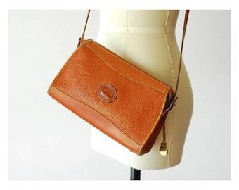 vintage Dooney & Bourke british tan all weather leather zip top purse / british tan crossbody bag