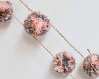 Handmade Orange, Pink and Grey Wool Pompom Garland/ Wall Hanging/ Mobile/Bedroom/ Nursery Decoration/ Baby's Room 1.5m