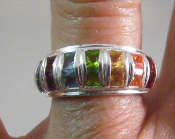 Vintage Multi Gem Color Cubic Zirconia Sterling Silver Band Ring.....  Lot 5304