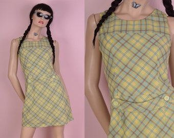 90s does 60s Pale Green Plaid Dress/ Small/ 1990s/ Tank/ Sleeveless
