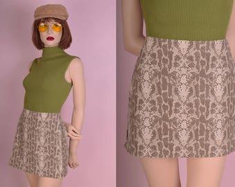 90s Reptile Print Skirt/ 28.5 Waist/ 1990s