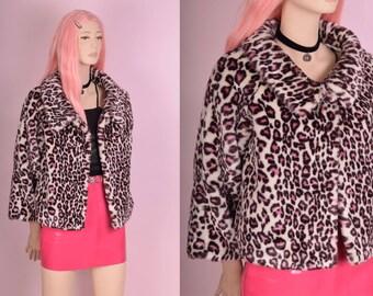 90s Pink Leopard Print Faux Fur Jacket/ US 10/ 1990s