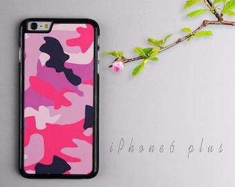 Pink Camouflage iPhone 6 plus case, Black iPhone 6s plus Plastic case, iPhone 6s PC cover - HTPC6P18
