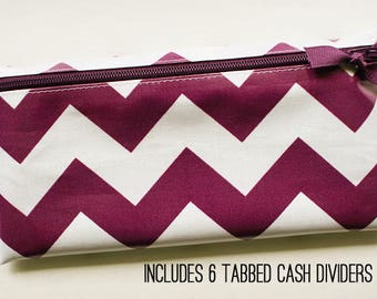Purple chevron envelope system wallet with dividers