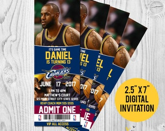Lebron James Cleveland Cavaliers Printable Birthday Invitation