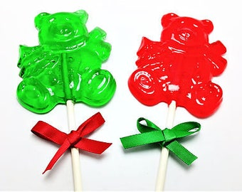 12 HOLIDAY BEAR LOLLIPOPS with Satin Ribbon - Stocking Stuffers, Holiday Favors