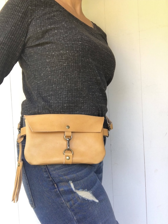 Leather fanny pack, leather hip bag, tan leather, belt bag, travel pouch, festival fanny pack, travel hip bag, fanny pack