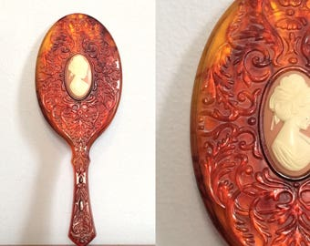 Vintage 70s Cameo Mirror / Carved Amber Plastic Hand Mirror / Shabby Chic Vanity Decor Accessory