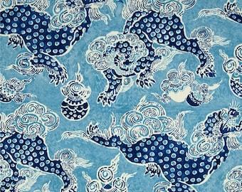 """Two  96"""" x 50""""  Custom Curtain Panels  -  Indoor/Outdoor - Dunmore Dragons - Cobalt Blue"""