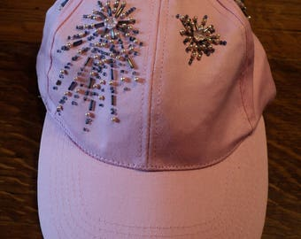 Summer CLEARANCE SALE 35% OFF!  Hand Beaded Pink Ball Cap, Breast Cancer Awareness, July 4th Fireworks, Celebration Baseball Cap