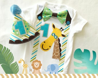 Baby Boys First Birthday Jungle Animal Theme Party Outfit Bodysuit and Party hat