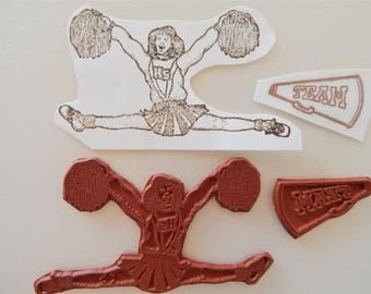 Cheerleader + Megaphone Unmounted Rubber Stamps High School Girl Pom Poms g