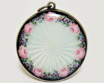 Antique Locket Sterling Silver Guilloche Enamel Roses & Violets
