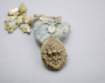 Antique Victorian Bronze Necklace Ornate Necklace Highly Decorative