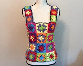 Granny square crochet top multicolor, Granny square top, Crocheted colorfull top, Multicolor top, Summer top, Handmade top