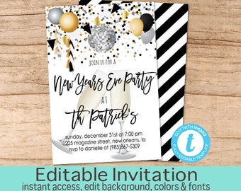 Christmas party invitation red truck tree editable christmas new years eve party champagne invitation editable nye party new years party black stopboris Image collections