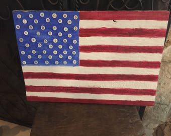 Vintage Reclaimed Barn Wood Recycled As USA Flag Plaque Button Stars Wall Deco Independance Day