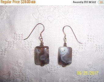 TWICE A YEAR, 25% Off Vintage Gray Botswana agate rectangle earrings. Sterling silver.