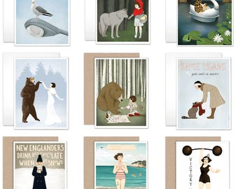 Blank Notecards, Set of 4, Set of 12, Art Cards, Stationery, Variety Pack