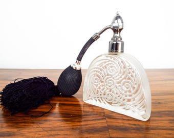 Vintage French Art Deco Style Marcel Franck Clear Glass Perfume Bottle Atomiser, Unique Bathroom Decor Home Decoration, 1920s Style House