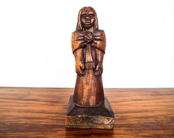 Vintage Signed Wooden Primitive Female Wood Hand Carved Sculpture Figure, Unique Country Home Decor Decoration