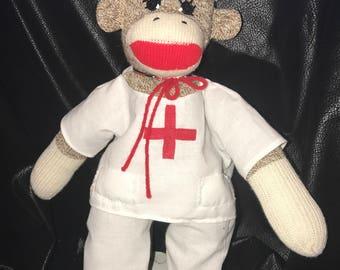 Handcrafted Sock Monkey Nurse