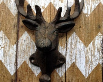 On Sale Cast Iron Deer Head Wall Hook Stag Elk Coat Hook Hanger Rack  Hunting Lodge, Cabin , Man Cave, Decor, Gift for Hunters 8 Point Antle