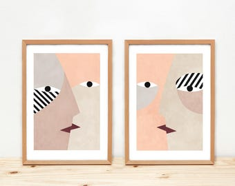 Kisses -Illustrations by Depeapa - A4 prints, illustrations, wall art, home decor, póster, cactus and houses