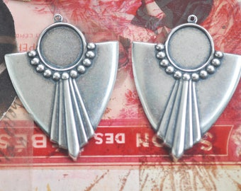 One pair of Art Deco brass earring components with bezel, Sterling Silver Finish