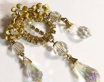 Vintage Victorian Style with Dangling Crystals Brooch by Denbe