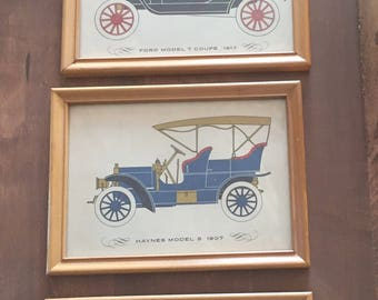 Vintage prints of antique cars 5 x 7 frame with glass