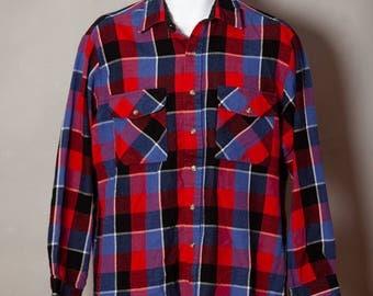 Vintage 90s Men's Red Blue Black Flannel Button Down Shirt - NORTHERN EXPLORER