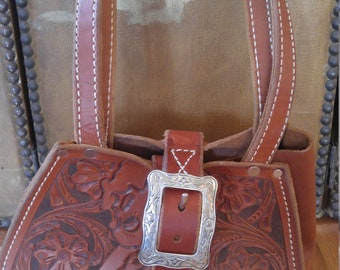 90s leather hand tooled Betty Boop/ Lil Tex hand bag