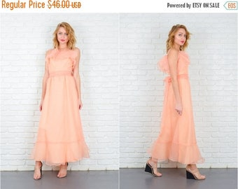 ON SALE Vintage 70s Peach Boho Dress Maxi Sheer Tiered Small S 5304