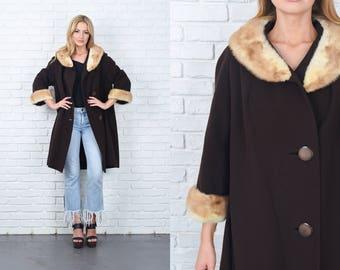 Vintage 60s Brown Mod Coat Peacoat Blonde Mink Fur Collar Cuff Large L 11279