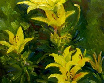 Plein Air Large Oil Painting on Canvas Yellow Lilies