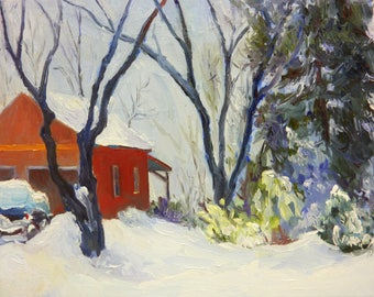 March Snow Small Impressionist Landscape Oil Painting on Canvas