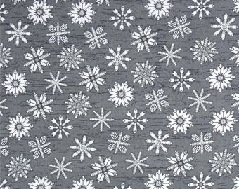 FLANNEL - Snowflakes on Gray from Henry Glass's Frosty Folks Flannel Collection