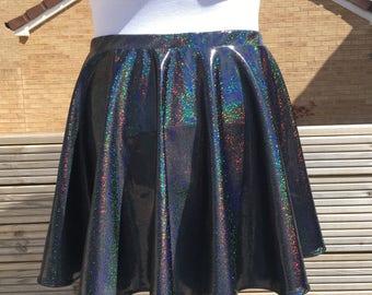 Black Holographic Circle Skirt