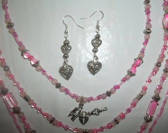 New 4 Strand Pink Glass Beaded Layered Heart Charm Necklace With 2 Inch Heart Earrings