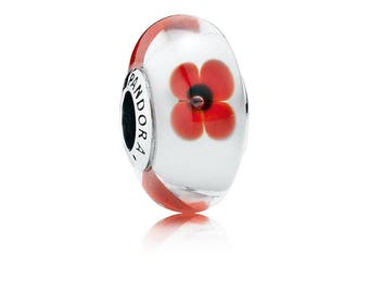 PANDORA Wild Flower Tribute 791636 Glass Murano Bead Charm