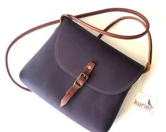 Purple KARINA crossbody leather bag