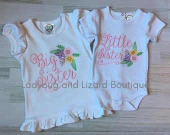 Big Sister Little Sister Middle Sister Sibling Flowers Top and Bodysuit Set