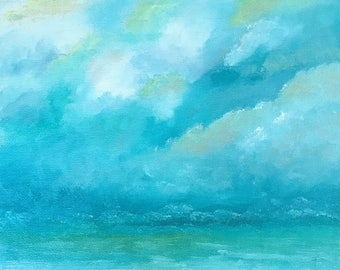 Seascape, Original Handpainted Oil Painting. Textured, Size 8 x 10, Canvas Panel