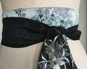 Asian silk brocade obi belt, silk sash belt, black organza obi sash belt, waist cincher, engagement party sash, Bridal sash, wedding belt