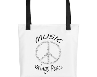 Music brings peace Tote bag