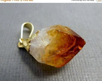 10% off Independence Day Petite Citrine Point Pendant -- Raw Citrine electroplated gold (S35B8-03)
