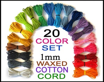 1mm Waxed Cotton Cord - 20 Color Set - Cotton Jewelry Cording