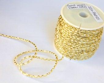 Gold Metalic Wool Yarn Cord - for Felting, Tapestry Making, Rug Weaving, Gift Wrap, Greeting Cards & Millinery Supply - 25 yards = 75 feet
